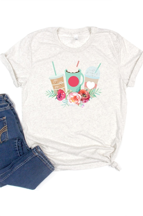 Picture of Floral Coffee Graphic Tee