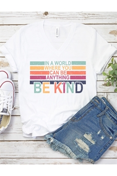 Picture of In A World Where You Can Be Anything V-Neck Graphic Tee