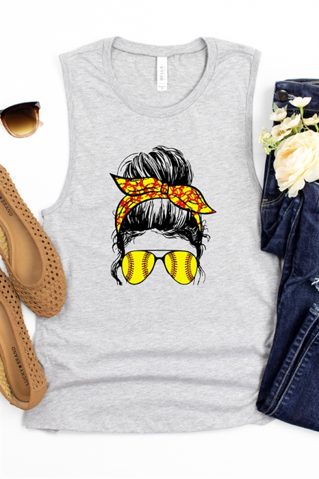 Picture of Softball Mom Bun Graphic Muscle Tank