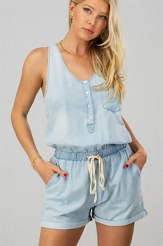 Picture of Tie Waist Chambray Romper